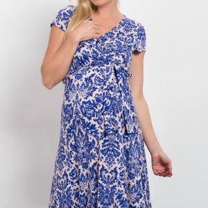 Pinkblush Maternity Wrap Maxi Dress Blue Damask, S